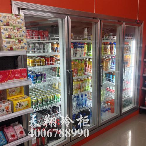 重庆快易客连锁便利店四门展示冰柜_冷藏展示柜工程案例